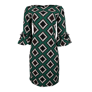Green Print Semi-Sheath Dress