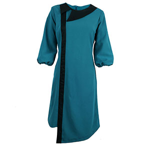 Green Side Collar Flared Dress