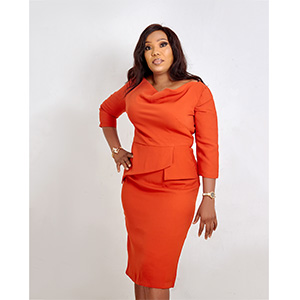 HaloGlow Orange Neckline Pencil Dress