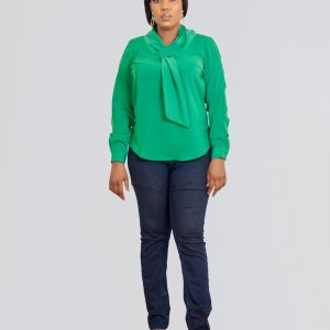 HaloGlow Green Tie Blouse